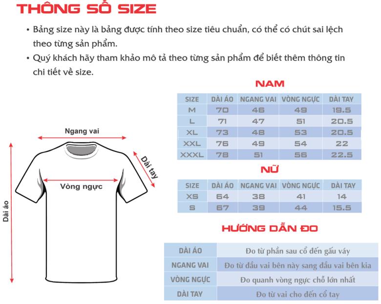 Hướng dẫn cách lựa chọn kích thước, size áo thun mới nhất 2016
